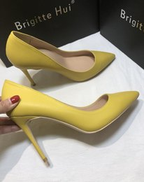 $enCountryForm.capitalKeyWord NZ - Free shipping fee women pumps yellow matt leather pointed toe high heels bride wedding shoes pumps real photo 120mm 100mm