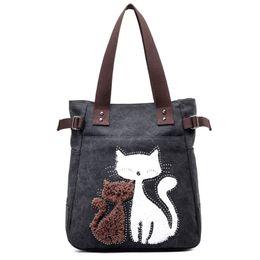 Cat bag wholesale online shopping - Women Canvas Handbag Fashion Ladies Shoulder Bags Cute Cats Design Beach Tote Bag Travel Outdoor Sports Portable Handbags