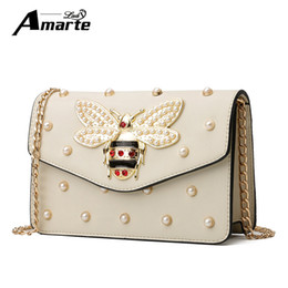 d5c1f0eb578 Fashion Design Bee Metal Pearl Pu Leather Chain Ladies Shoulder Bag Handbag  Flap Female Crossbody Messenger Bag Bolsa Female