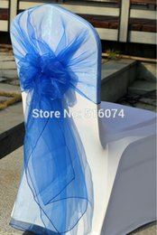 Discount royal blue chairs - Wholesale-65*275cm Royal Blue Organza Chair cover Hood Chair Cover Sashes For Wedding Event&Party&Banquet Decora