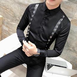 0ceab827ae0b Camicia da uomo decorazione personalità camicia coreana Slim Fit manica  lunga Tuxedo camicia abito da uomo Casual Night Club sociale camicie uomo  camicetta