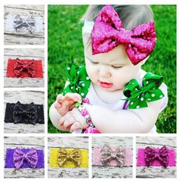 $enCountryForm.capitalKeyWord Canada - New Baby Lace Headbands Girls Kids Elastic Bow Headbands Sequined Paillette Bowknot Hairbands Children Hair Accessories 12 Colors KHA359