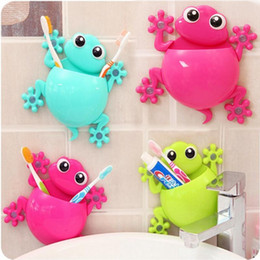 $enCountryForm.capitalKeyWord NZ - HOT 1PC Lovely Cartoon Gecko Model Toothbrush Toiletries Toothpaste Holder Bathroom Sets 4 Suction Hooks Tooth Brush Container