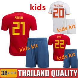 494497f0a88 Spain kids 2018 world cup soccer jerseys ASENSIO Spain children football  shirt MORATA RAMOS ISCO INIESTA Camiseta PIQUE DIEGO COSTA maillot