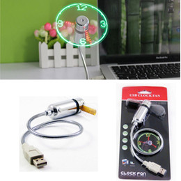 cool home gadgets Canada - Mini USB Fan gadgets Flexible Gooseneck LED Clock Cool For laptop PC Notebook Time Display DHL Free Shipping