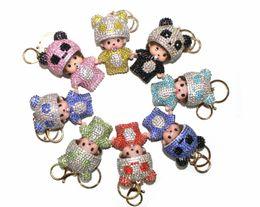 $enCountryForm.capitalKeyWord Australia - Wholesale Fashion Women Accessories Top Quality Rhinestones Panda Monchichi Crystals Charms Pendant Key Ring Handbag Car Keychains