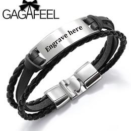 Großhandel GAGAFEEL 4 Farben Custom Gravieren Armreif Für Männer Punk Multilayer Armband Edelstahl Pu-leder Armreif Besonderes Geschenk Für Männer