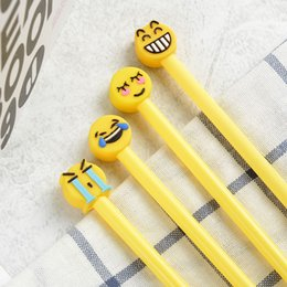 emoji stationery NZ - 2pcs set Emoji Ballpiont Pen Fashion Cartoon Cute Creative School Supplies Kawaii Student Gift Stationery Office Free Shipping