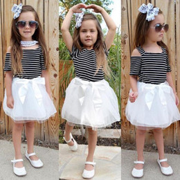 Chinese Pageant Dresses NZ - Kids Baby Girls Summer Off Shoulder Striped Princess Dresses With Bowknot Gauze Dress 2018 New Party Pageant Prom Dress Vestidos