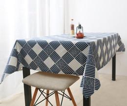$enCountryForm.capitalKeyWord NZ - Rectangular Cotton Linen sea wave grid wave ripple Washable Tablecloth Vintage Rectangle Dinner Picnic Table Cloth Home Decoration