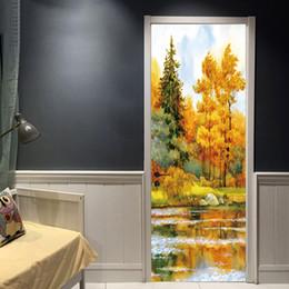 $enCountryForm.capitalKeyWord NZ - 3D View Art Doors sticker Tree Water Scenery Oil Painting Door Paint Bedroom Living Room Corridor Door Decorative Waterproof PVC Wall Decal