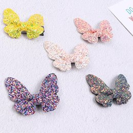 Kids Hair Clips Pink Australia - New Fashion Girls Butterfly Bling Bling Hair Clips Kids Sequins Hairpins Cute Bow Children Kids Shows Hair Headwear Accessories