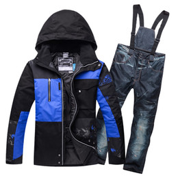 Discount winter skate clothing - Thermal Padded Cotton Mens snow suit Ski Jackets and Bib Trousers set Winter Skating Hiking Camping Skiing Clothing Wind