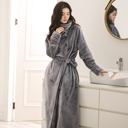 Women Men Winter Hooded Extra Long Thick Warm Flannel Bath Robe Luxury  Thermal Bathrobe Soft Silk Dressing Gown Bridesmaid Robes df15e1c75
