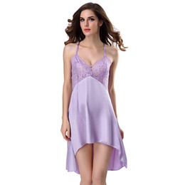 31a9868c3ee Satin Nightgown Women Lace Sexy Lingerie Babydoll Mini Dress Backless  Nightdress Sleepwear Adult Sex Costumes Negligee