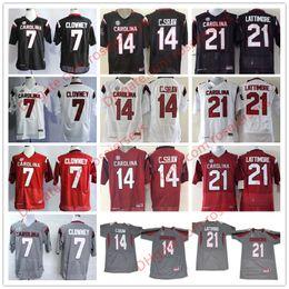 South Carolina Gamecocks  7 Jadeveon Clowney 14 Connor Shaw 21 Marcus  Lattimore 44 Sherrod Greene Black Red White College Football Jerseys dadc0335f