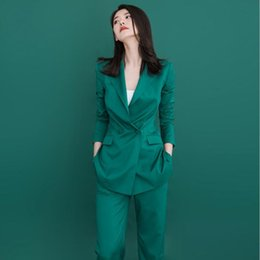 Army Green Suit Australia - Customized new hot women's green suit two-piece suit (jacket + pants) women's business office official business wear