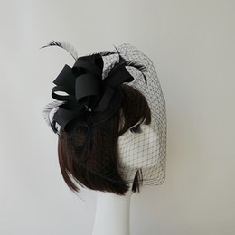 feather flower hair accessories black Australia - Fashion Black Bridal Hats Veils Hat Wedding Ribbon Gauze lace Feather Flower 2018 New Party Hair Clips Caps Bridal Accessories
