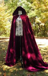 Wholesale winter costumes for women for sale – halloween Wedding Jacket Wraps Fsahionable Warm Winter Long Sleeves Hood Capes Halloween Costumes For Women Men Cosplay Bridal Cloaks