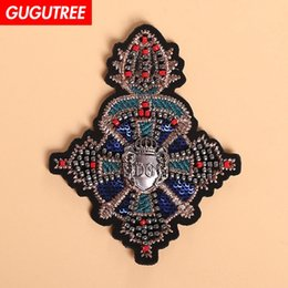 $enCountryForm.capitalKeyWord NZ - GUGUTREE beaded badge patches,crystals diamonds Sequined Applique Patch for Coat,T-Shirt,hat,bags,Sweater,backpack BDP-84