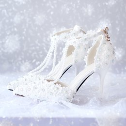 low heel evening shoes rhinestones Australia - 2018 New Design Wedding Shoes With Imitation Pearl Rhinestones High Heel Custom Made White Lace Woman Party Prom Evening Bridal Shoes