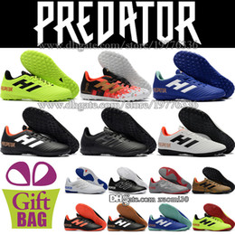 Indoor Football Turf Canada - New Low Soccer Cleats Turf Predator Tango 18.4 Indoor Football Boots TF Mens Trainers Leather Soccer Shoes Boots Size 6.5-11.5