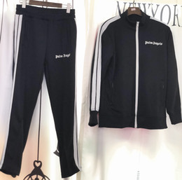 Wholesale 2018 New Palm Angels giacca Donna Uomo Alta Qualità Autunno Inverno Streetwear Casaul Palm Angels PA arcobaleno Esclusiva giacca con coulisse S-XL