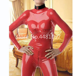 Red Fetish Suit Australia - 100% Hand Made Red Latex Rubber Catsuit with Socks Bodysuit Overall Leotard Fetish Catsuit Suit Wear Plug Size XS-XXXL