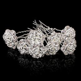 White Rose Wedding Hair Clips NZ - New Crystal Rhinestone Rose Flower Hair Pins Clips Hairpins Women Hair Wedding Jewelry Silver Plated