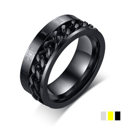$enCountryForm.capitalKeyWord Canada - Fashion Charm Jewelry silver gold black color Roman numerals stainless steel chain spinner Rings For Women Men Dropshipping