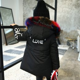 9f7dfbc02215 Long Outerwear Australia - Winter Jacket For Girls Colorful Fur Collar  Hooded Coats Children Thick Warm