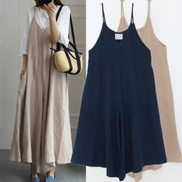 8b435c22dca Summer Rompers Women Wide Leg Pants Vocation Strappy Dungarees Casual  Pockets Cotton Linen Jumpsuits Long Trouser Loose Overalls
