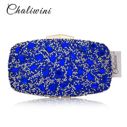 Chinese  Fashion Blue Diamond Crystal Women Evening Bags Cocktail Party Wedding Bolsa Feminina Handbag Purse Bridal Metal Clutch Bag manufacturers