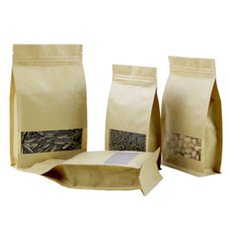 Wholesale gift snacks online shopping - 1000pcs Brown Stand up Paper Window Packaging Bag Snack Cookie Tea Packaging Frosted Window Ziplock Bag Gift Bags Pouches