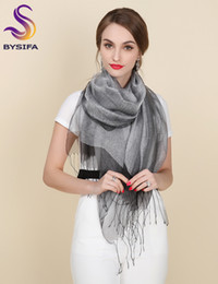 purple shawls scarves Canada - New Elegant Organza Silk Scarf Shawl Fashion 100% Mulberry Silk Silver Grey Female Long Scarves Autumn Winter Ladies Tassel Cape S18101904