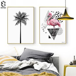 Art Canvas Prints Australia - Nordic Canvas Prints and Posters Wall Art Flamingo Wall Pictures Palm Tree for Home Decoration, Modern Paintings Decor