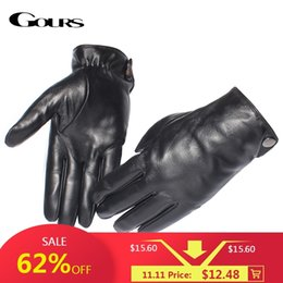 Men Gloves Leather Sheepskin Australia - Gours Men's Genuine Leather Gloves Fashion Brand Real Sheepskin Black Touch Screen Gloves Button Winter Warm Mittens New GSM051 D18110705