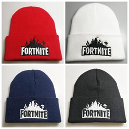 red black hip hop costumes 2018 - Fortnite Battle Knitted Hat 4 Colors Hip Hop Embroidery Knitted Costume Cap Winter Soft Warm Skuilles Beanies 120pcs OOA