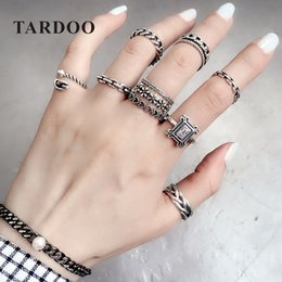 matching heart rings NZ - Tardoo Mix Match Rings 925 Sterling Silver Classic Plants&Heart Rings Sets for Women Fashion Punk Style Adjustable Fine Jewelry Y1892607