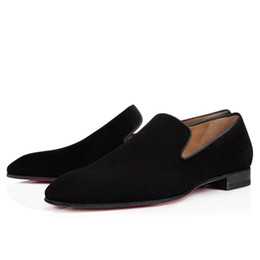 Wholesale Brand Red Bottom Loafers Luxury Party Wedding Shoes Designer BLACK PATENT LEATHER Suede Dress Shoes For Mens Slip On Flats