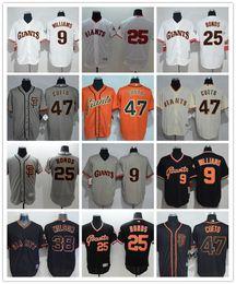 9eeeda94b0e Men women youth San Francisco custom Giants Jersey  9 Matt Williams 25 Barry  Bonds 47 Johnny Cueto Home Orange Grey White Baseball Jerseys