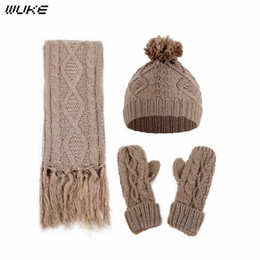 Hair Glove NZ - Women Three-piece Winter Warm Set Beanie Hat And Scarf Gloves Set For Women Fashion Acrylic Hair Ball Knitted Hat Thick Female