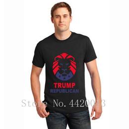 f77be388c4ae Принт хлопок Евро Размер S-3xl козырь республиканский со львом Костюм  комичный летний стиль семейный хип-хоп Топы мужская футболка