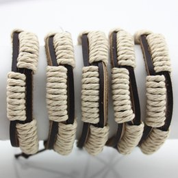 Wholesale Jewelry Hand woven Braid Surfing Wrap Hemp Leather Bracelets Adjustable Couple Bracelets Bangles Gifts MB101