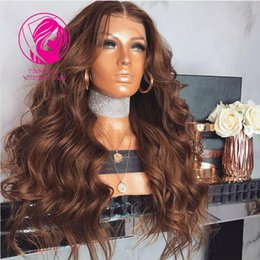Wavy Hair Middle Part Australia - Fantasy 200% 250% Density Pretty Wavy Lace Front Human Hair Wigs with Baby Hair Pre-Plucked 13*4 Middle Part Remy Hair Wig