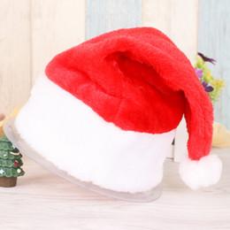 Adults Christmas Hats Canada - 5PCS High Quality Plush Christmas Hats Adults Children Red Santa Claus Thick Hat Kids Party Decoration Ornament Dress Cap CKG40