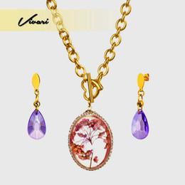 $enCountryForm.capitalKeyWord UK - Vivari Fashion Dry Flowers Egg Shape Pendant Jewelry Set Necklace for Women Drop Earrings For Women Stainless Steel Dec