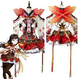 costume ver 2019 - Love Live ! Dia Kurosawa Cosplay Costume Aqours Maple Leafs Ver Kimono Dress Cosplay Costume Halloween Carnival cheap co
