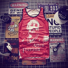 7203f052f91656 Hip-hop Iverson printing Tank Tops Men s 2018 Summer 3d Mesh Vest Fit Slim  Sleeveless Tee Shirts ventilate Bodybuilding Clothing