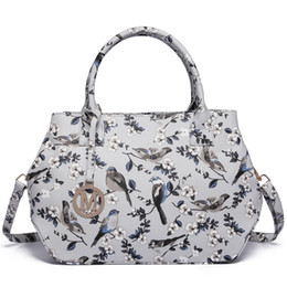 Gray Handbags NZ - Vintage ladies and girl structured matte oilcloth shoulder bag satchels handbags crossbody bags flower and bird Gray color